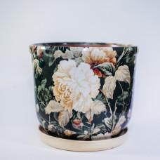 Горшок глазурованный керамический (153-63н - букет)