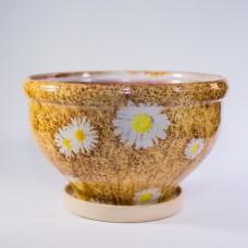 Горшок глазурованный керамический (206-63н ромашки на коричневом)